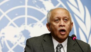 Yemen's Foreign Minister Reyad Yassin Abdulla speaks to the media during a news conference by the Mission of Yemen in Geneva