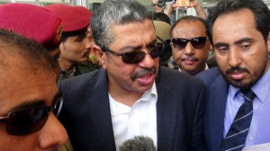 Yemen's Vice President Khaled Bahah talks to reporters upon his arrival at Aden airport